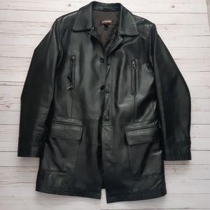DANIER Black Genuine Leather Long Button Coat